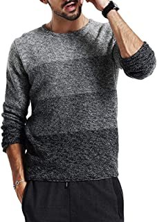 Mens Crewneck SweatersKnitted Stylish Warm Pullovers Soft Color Block Sweater