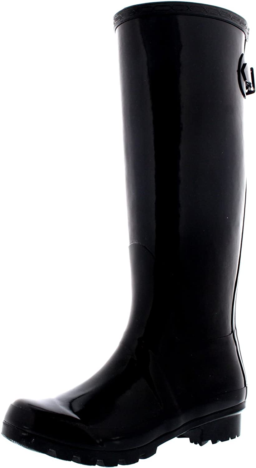 Polar Womens Adjustable Back Tall Gloss Wellington Winter Wellies Snow Rain Boots - Black - 6-37 - CD0019