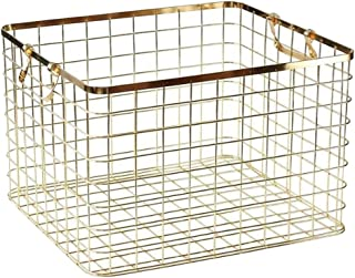 Flameer Laundry Hamper- Nordic Simple Metal Wire Dirty Clothes Storage Basket -Rustproof Storage Bin for Home Decor, 2 Size - M-Gold