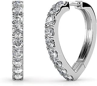 Cate & Chloe Waverly Carefree 18k White Gold Plated Chandelier Hoop Earrings Swarovski Crystals - Beautiful Swarvoski Crystals Earring Set, Wedding Anniversary - Hypoallergenic