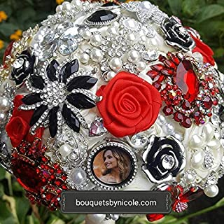 Made to order Luxury Brooch Bouquet BCUST- SCARLET