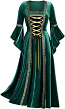 MoonHome Women's Gothic Punk Style Long Sleeve Tie with Gold Velvet Dress Robe Costumes Irish Over Victorian Retro Gown