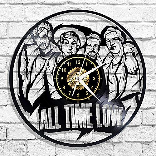 Chanson Tous Temps Bas Vinyle Record Horloge Murale Led Lumineux Commémorer Art Fait Main Chambre Décor Avec Led Lumière 12 Pouce