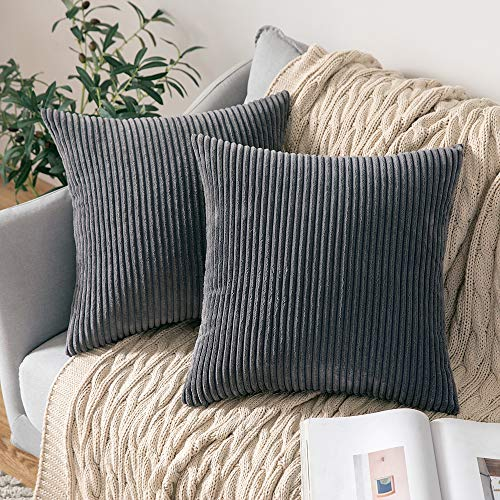 MIULEE Pack of 2 Corduroy Soft Solid Decorative Square Throw Pillow Covers Cushion Cases Pillow Cases for Couch Sofa Bedroom Car 16 x 16 Inch 40 x 40 cm, Grey