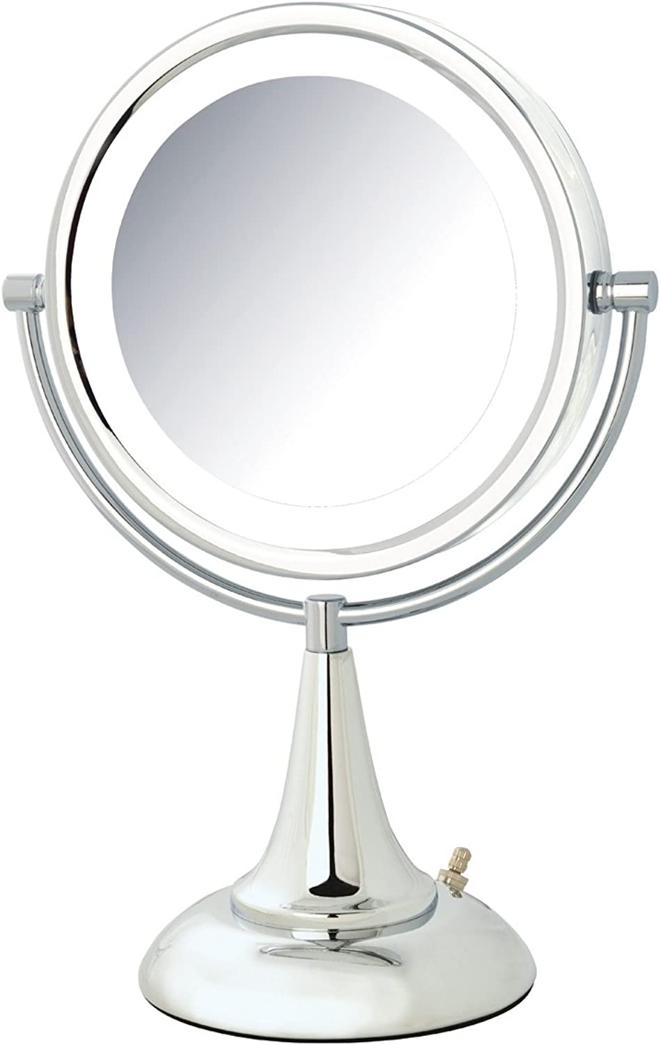 Jerdon HL8510CL 1x and 8x Magnification LED Lighted Table Top Mirror, Chrome