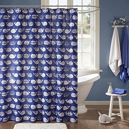 Urban Habitat Kids Moby Kinder-Duschvorhang, Baumwolle, für Badezimmer, 183 x 183 cm, Marineblau