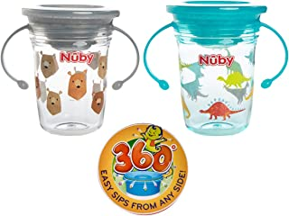 Nuby (2 Piece) 360 Wonder Cup No Spill Sippy Cups For Toddlers Nuby Sippy Cups With Handles 360 Sippy Cup With Hygienic Cover