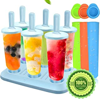Ice Lolly Moulds, Molds Set, Ice Lolly Makers, Ice Cream Reusable Silicone DIY Frozon Popsicle Moulds for Kids,Toddlers an...