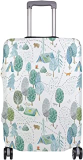 Mydaily Camping Watercolor Landscape Luggage Cover Fits 18-32 Inch Suitcase Spandex Travel Baggage Protector