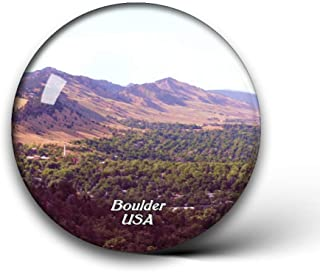 Jollin USA America Colorado Chautauqua Park Boulder Fridge Magnets Clear Crystal Glass for Refrigerator City Travel Souvenirs Funny Whiteboard Home Decorative Sticker Collection Gifts Round Magnet