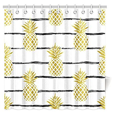 InterestPrint Pineapple Decor Shower Curtain, Tropical Theme Vintage Stripe Style Pineapple Fruit Bathroom Shower Curtain 72 By 72 Inches Extra Long