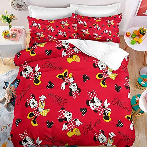 DAKEAI Disney Mickey Juego de cama 2/3 piezas, Mickey & Minnie 100% microfibra, funda de edredón, funda de almohada, impresión digital 3D, para niños (02,140 x 210 cm)