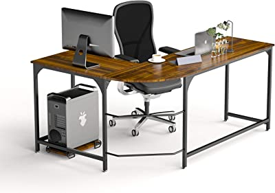 Furnichoi L Shaped Computer Desk Industrial Wood And Metal Sturdy Corner Desk With Shelves For Home Office 59 Inch Kitchen Dining