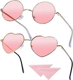 Hifot - 2 Pares Gafas Hippie Gafas de Sol en Forma de Corazón, Redondas Retro Gafas para Los Accesorios De Disfraces Hippie, Gafas Vintage con 2pcs Paño de Gafas, Marco Dorado Rosa