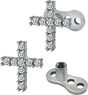 14g Cubic Zirconia Dermal Anchor Tops and Base Surgical Steel Microdermals Body Piercings