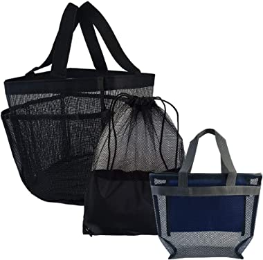 Yookat 3 Pack Mesh Shower Caddy Portable Mesh Storage Pockets Tote Bag Mesh Shower Bag Shower Caddies for College Dorm Camping Gym Trip Swimming
