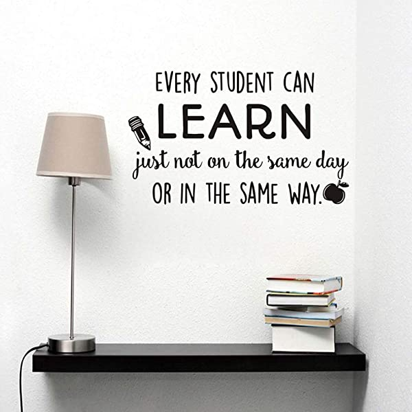 Natrire Every Student Can Learn Wall Stickers Classroom Encourage Motto Home Decor Pencil Apple Wall Decals Vinyl Kids Room Wall