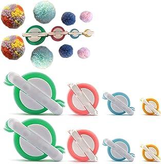 STSTECH Pompom Maker for Fluff Ball on Hats Gift Box,Plush Toy Decoration, Pom Pom Knitting Loom Kit for DIY Wool Yarn Crochet Craft Tool 4 Sizes,Set of 8