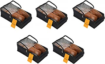 Srajanaa Men's Under Bed Storage Shoes Organizer Bag with Clear Plastic Zippered Cover Box - Large (Pack of 5)