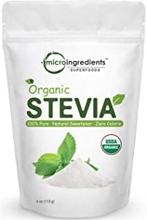 Pure Organic Stevia Powder, 4 Ounces, 706 Serving, 0 Calorie, Natural Sweetener, Sugar Alternative, Premium Stevia for Ket...