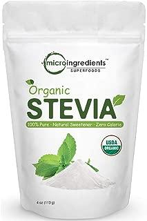 Pure Organic Stevia Powder, 4 Ounces, 706 Serving, 0 Calorie, Natural Sweetener, Sugar Alternative, No GMOs and Vegan Friendly