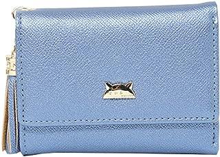 ミニ 財布 レディース 三つ折り 人気 かわいい 猫柄 金運アップ 小銭入れ カード入れ ファスナー フリンジ 大容量 コンパクト 軽量 プレゼント 10.5*7.5*2CM 無地 ピンク ブルー ホワイト ブラック