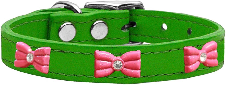 Mirage Pet Products 8363 EG22 Pink Glitter Bow Widget Genuine Leather Dog Collar Emerald Green, Size 22