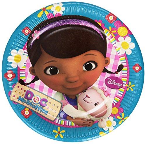 Disney Junior Amscan Docteur La Peluche Lot de 8 Grandes Assiettes en Papier de 23 cm, Accessoire de fête