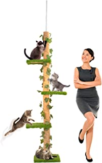 Downtown Pet Supply Deluxe Interactive Cat Scratching Sisal Posts Tree and Exerciser for Kitty, Interactive Cat Toys (Regular, Premium, Giant, Tall 4-Level Scratch Post)
