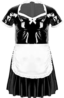 Oyolan Mens Sissy Wet Look French Maid Outfits Cosplay Costumes Ruffled A-line Mini Dress with Apron