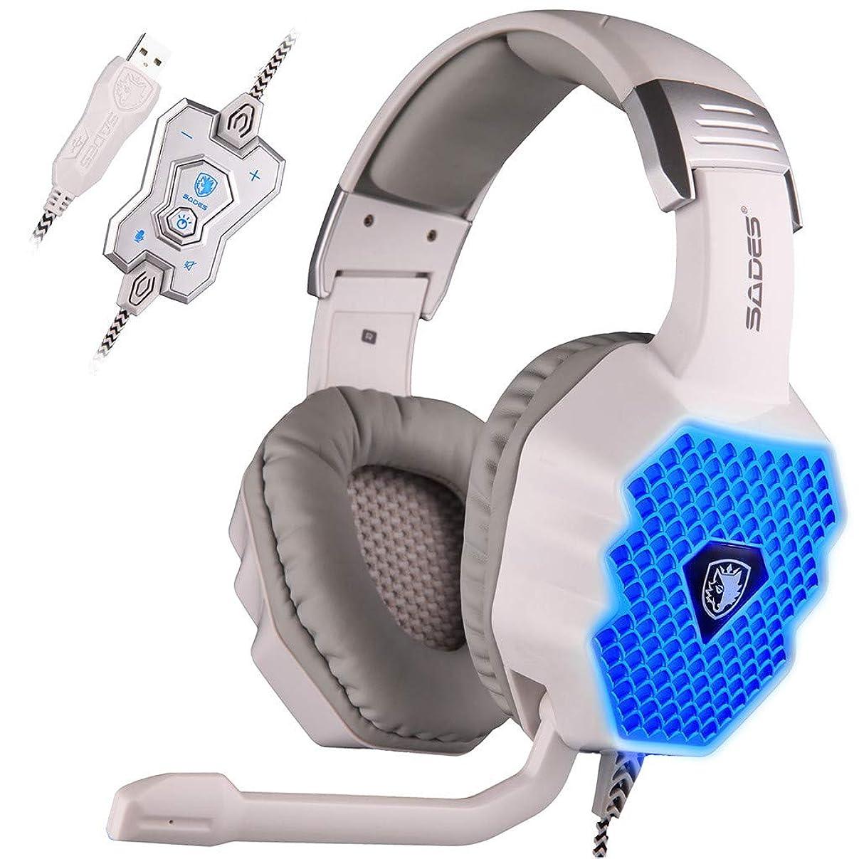 速い芽パテSADES A70ヘッドホン、グレー 呼吸ランプコンピュータゲーム有線ヘッドセットマイクUSB7.1ヘッドフォン サウンドカード付きUSBインターフェース 世界初の波状6色変換呼吸ランプ! 新しくアップグレードされたセグメント化されたヘッドビームインナーパッド、より快適な装着効果を体験 (ホワイト)