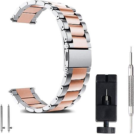 FashionAids Bracelet de Montre 22mm 20mm 18mm en Acier Inoxydable, Bracelet Hommes & Femme Haute qualité Remplacement Banda, en métal,18mm
