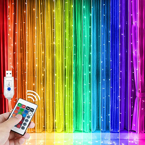 ZXYSHOP RGB LED Lichtervorhang 3 x 3M 300 LEDs Lichterkette 16 Farben 4 Modi mit Fernbedienung Timer USB...