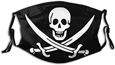 BYJHMB Calico-jack-pirate-flag-vector-format-538306633 Cotton Washable Nose Wired Face Cover Filter Pocket Wide Cover with Filter