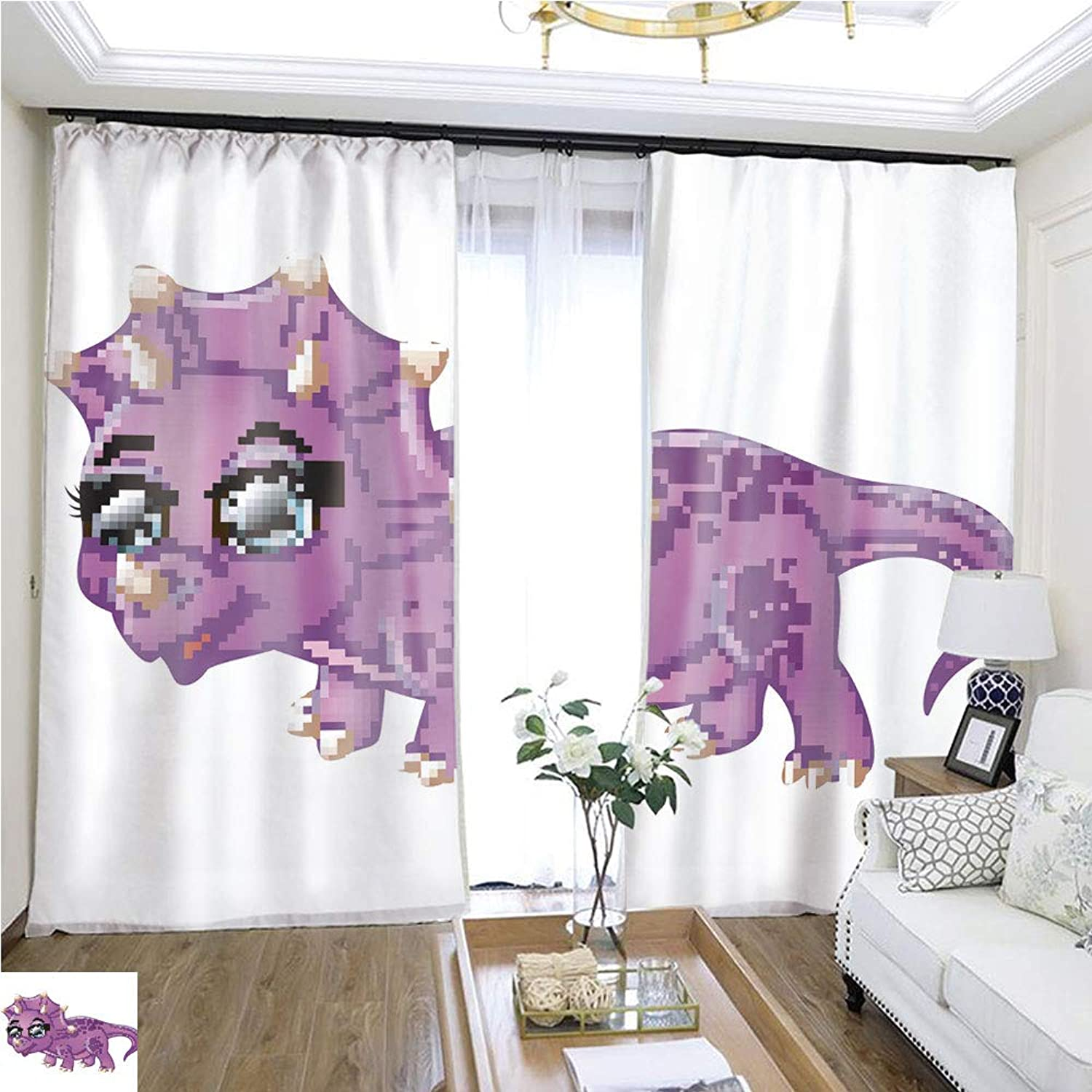 Air Port Screen Cute Triceratops Cartoon W96 x L276 Provide Heat Highprecision Curtains for bedrooms Living Rooms Kitchens etc.