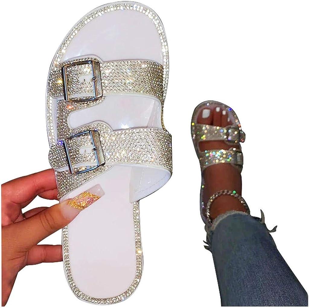 lisaysew Sandals for Women Rhinestone Dressy Flats Bling Slipper