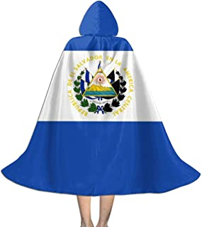 Flag of El Salvador Kids Hooded Cloak Cape for Halloween Christmas Party,Child's Cosplay Witch Wizard Vampire Costumes with Hat