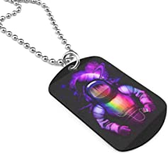 Astronaut Listening To Music.png Military Brand Necklace Dog Tag Stainless Steel Chain Pendant Keyring