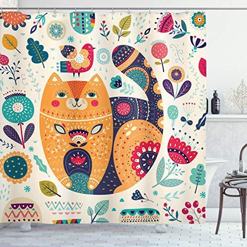 ABAKUHAUS Paisley Duschvorhang, Katze & Blumen-Blatt, Klare Farben aus Stoff inkl.12 Haken Farbfest Schimmel & Wasser Resistent, 175 x 200 cm, Multicolor