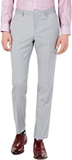 Men's Wool Trousers Slim Fit Solid Flat Front Dress Pants by Hugo