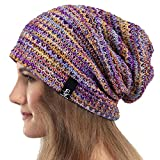 VECRY Womens Slouchy Beanie Knit Beret Ribbed Baggy Skull Cap Winter Summer Hat (Colorful Purple)