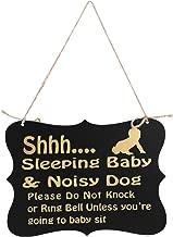 WINOMO Shhh Sleeping Baby Door Sign Do Not Disturb Sign Baby Room Hanging Wooden Decorative (Black)