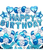 iZoeL Blå födelsedagsfest dekoration pojkar, blå Grattis på födelsedagen banderoll konfetti ballong hjärta stjärna ballong plus 10 g födelsedagsbord konfetti för baby shower barn flicka man födelsedagsmaterial