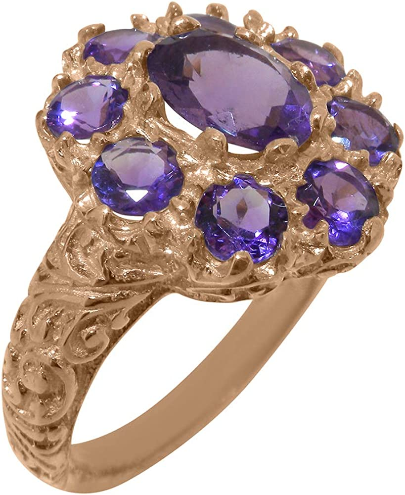Solid 10k Rose Gold Directly managed store Natural Amethyst Womens - Easy-to-use Sizes Cluster Ring
