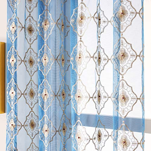 Aside Bside Vintage Bead8511 Sheer Curtain Embroidered Beaded Lace Voile Draperies Rod Pocket Panel for Living Room Bedroom Dining(1 Panel, Blue Bottom with Light Brown Embroidery, W 50 x L 84 inch)