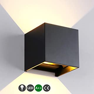 Lámpara De Pared Negro Lámpara De Noche De Diseño Moderno Iluminación De Pared Lámpara De Techo Interior Exterior De Pared Radiador Decorativo Luminoso Dormitorio Balcón Bar Pasillo Cálido 7W