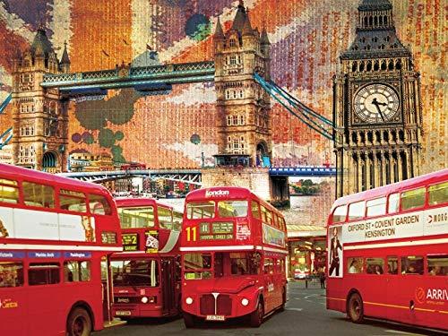 Papel Pintado Pared 3D Autobús Big Ben de Londres Abstracta Moderno Dormitorio Salon Decoracion murales techo-140X100cm (55X39 inch)