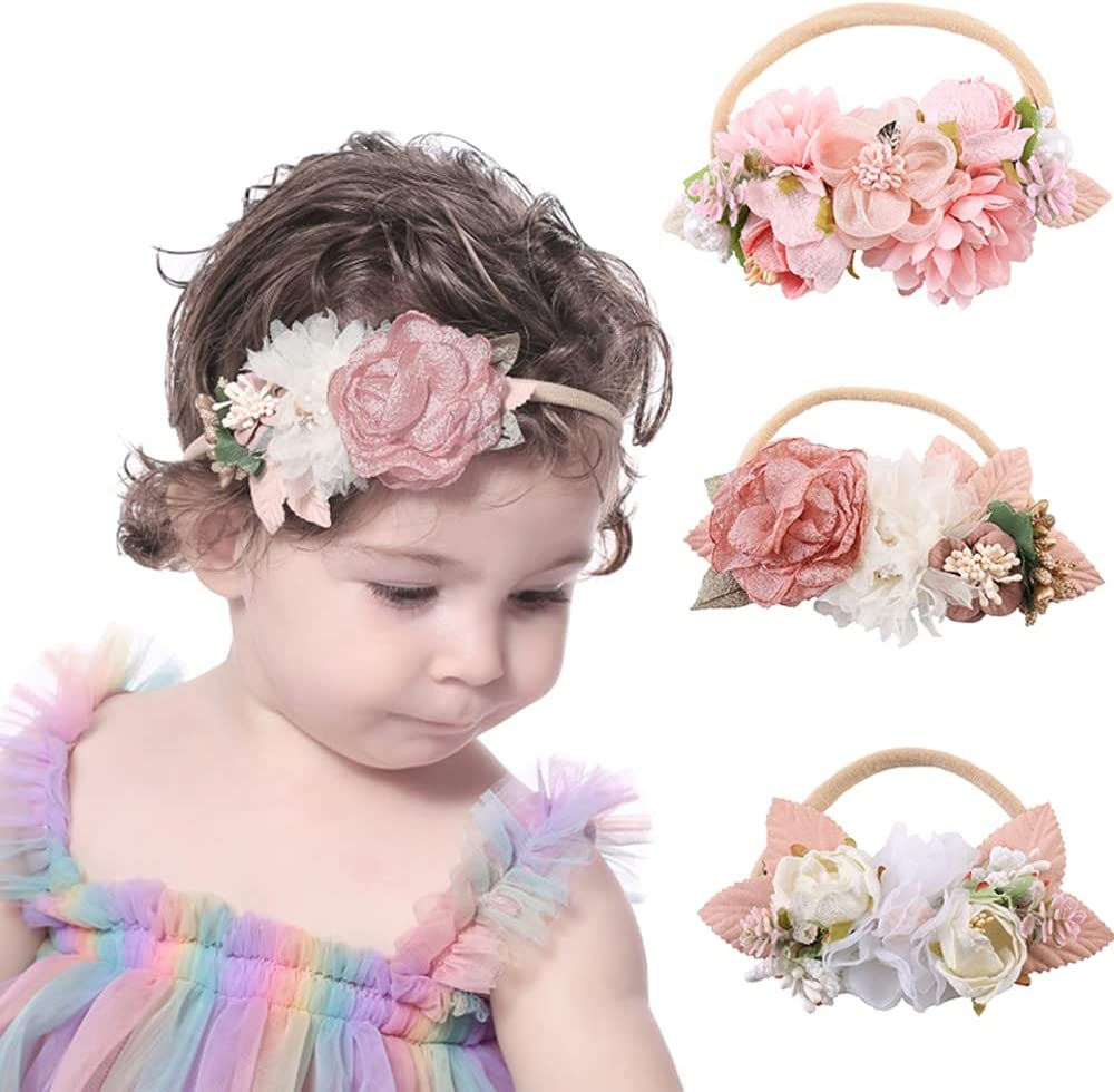 Wiwpar Flower Crown Headband Flower Hair Bands Headwear Elastic Adjustable Head Piece Girl's Hairbands for Toddler and Childrens (Style 1)