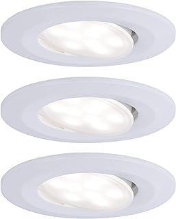 Paulmann 99927 Calla LED rond avec 3 x 6 W IP65 Spot encastrable blanc mat éclairage d'armoire en plastique 4000 K, 3er-Set