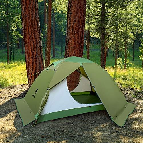 GEERTOPテント2人用ソロテントツーリングテントキャンプテント軽量防水冬用4シーズンスカート付き二重層構造PU5000MM耐水圧バイクアウトドア登山用簡単設営